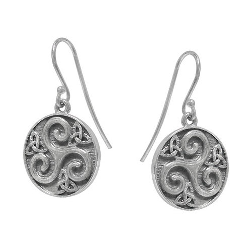 Sterling Silver Triskelion with Trinity Knot Earrings