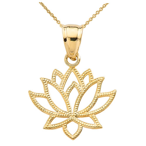 10K Yellow Gold Lotus Flower Pendant