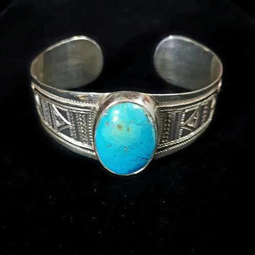 "Sterling Silver ""Takama"" Turquoise with Detailed Etched Cuff Bangle"