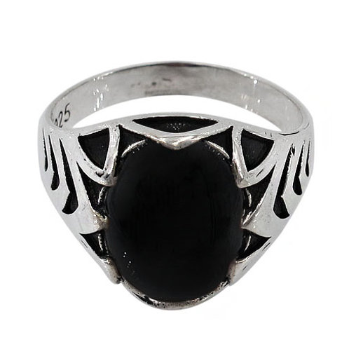Sterling Silver Men's Onyx Ring size 10