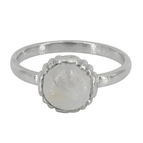 Rhodium Plated Sterling Silver Rainbow Moonstone Ring
