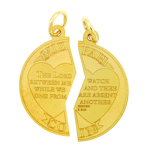 10K Yellow Gold Jewish Charms - Mizpah Coin Gold Pendant