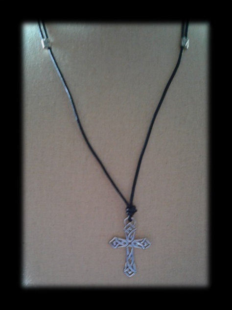 Sterling Silver Pictish Cross on Leather Cord