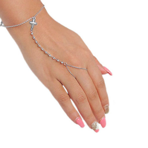 Rhodium plated Sterling Silver Rosary bracelet and ring with 4mm cross charm
