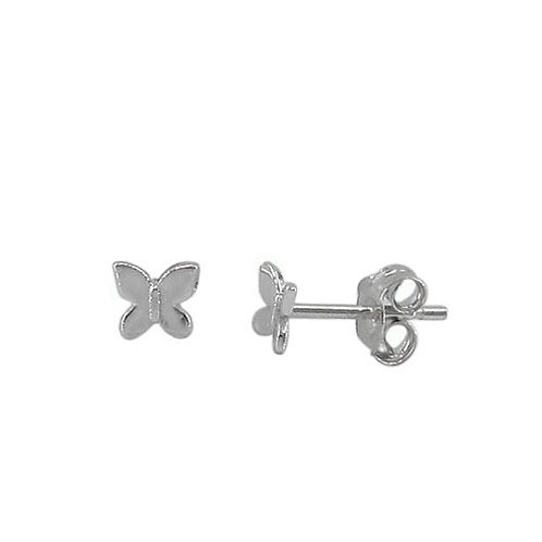 Rhodium Plated Sterling Silver Butterfly Earring