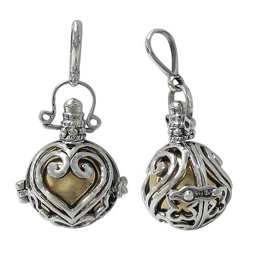 Sterling Silver Harmony Ball Pendant with Heart Design