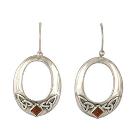 Sterling Silver Trinity with Garnet Gemstone Circular Earrings