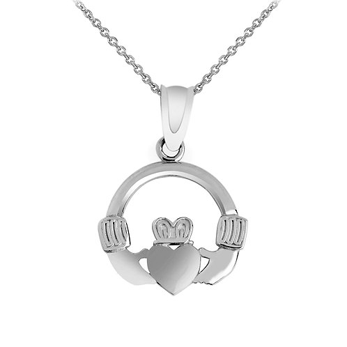 Rhodium Plated Sterling Silver Claddagh Pendant