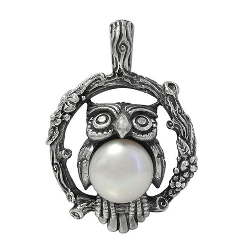 Sterling Silver Owl with 12mm Fresh Water Pearl Pendant