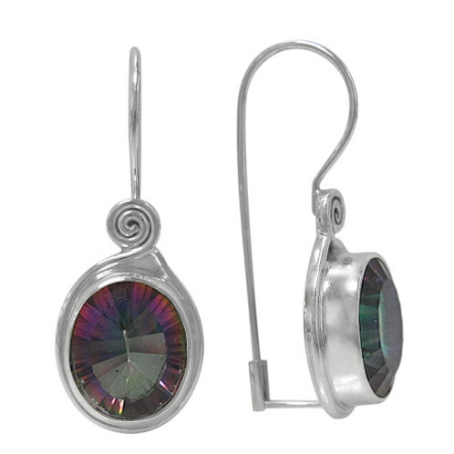 Sterling Silver Spiral Earrings with Mystic Quartz
