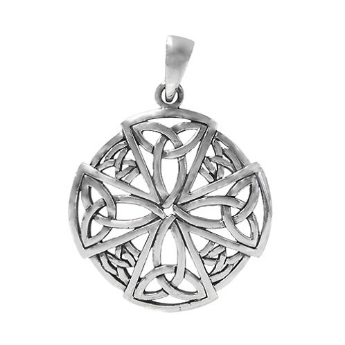 Sterling Silver Celtic Cross with Trinity  Knot Pendant