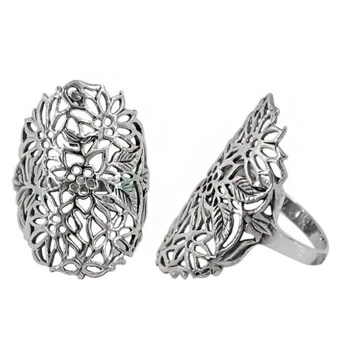 Sterling Silver Flower Ladies Ring (size 8)