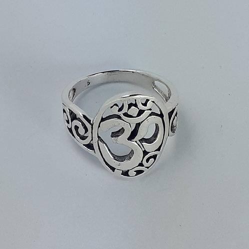 Sterling Silver Om with Spirals Ring