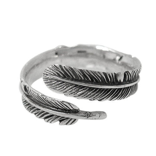 Sterling Silver Feather Ladies Ring (Size 6)