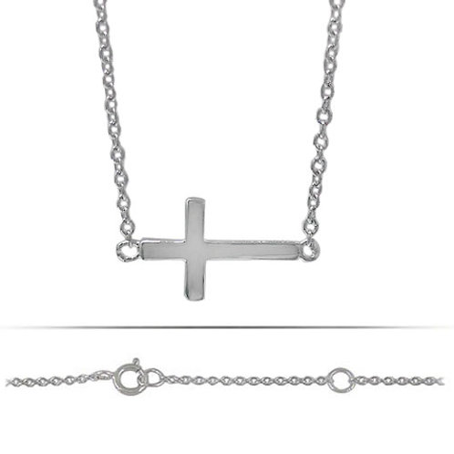 Rhodium plated Sterling Silver Sideways Cross Charm Pendant