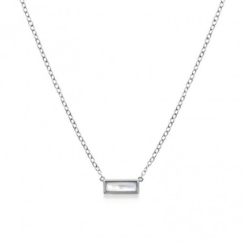 Sterling Silver Mother of Pearl Bar Necklace