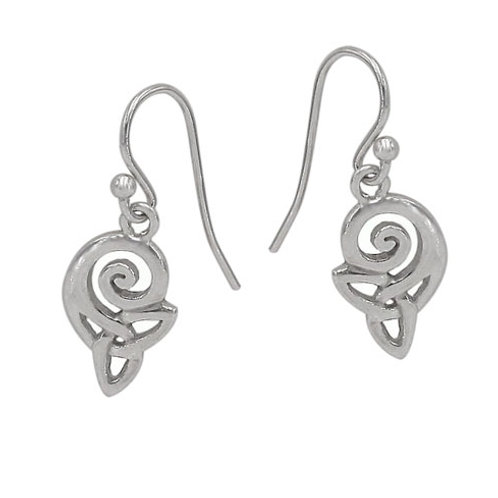 Rhodium Plated Sterling Silver Spiral with Triquetra Earrings