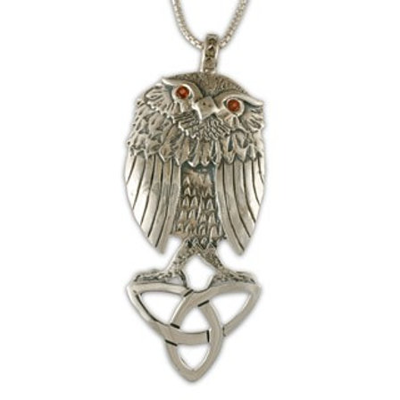 Sterling Silver Trinity Owl with Garnet Gemstone Pendant Necklace
