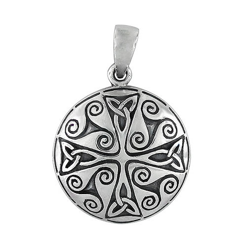 Sterling Silver Celtic Cross Pendant with Trinity Knots and Triskelions