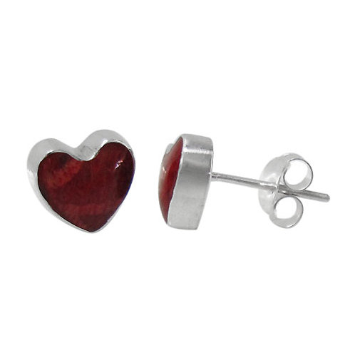 Sterling Silver Heart Stud Earrings with Sponge Coral