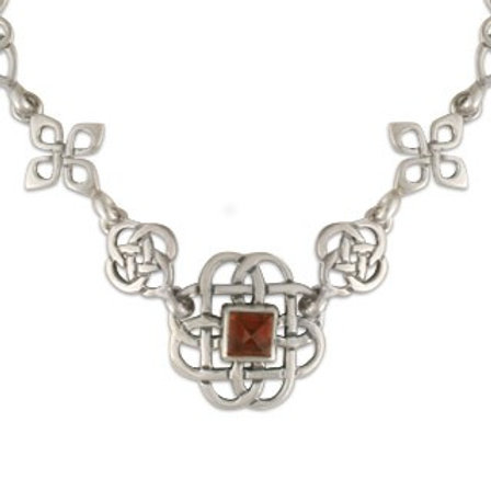 Sterling Silver Links Basket with Garnet Gemstone Necklace