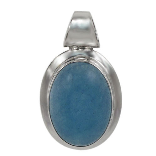 Sterling Silver Oval with Blue Jade Pendant