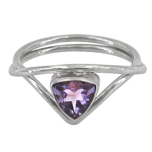 Rhodium Plated Sterling Silver with Amethyst Ring