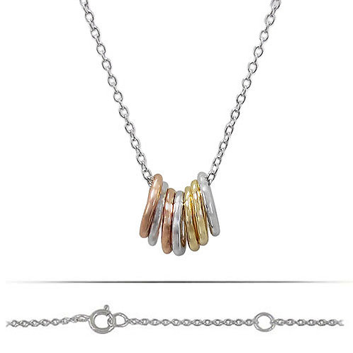 Rhodium, Rose Gold & Gold Plated Sterling Silver 7 Lucky Ring Necklace