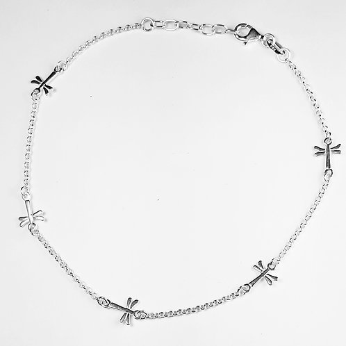 Sterling Silver Italian Dragon Fly Anklet