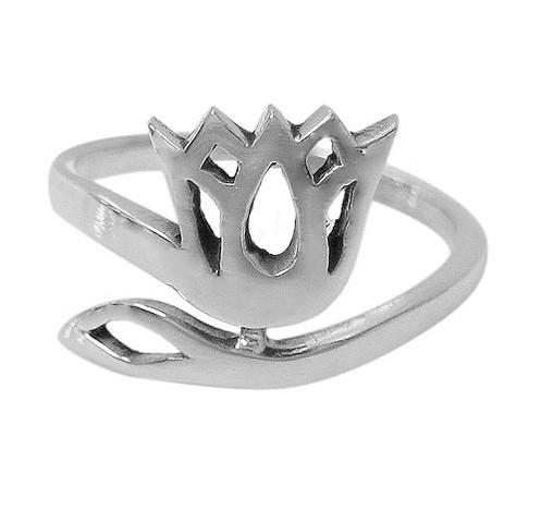 Sterling Silver Lotus Flower Ladies Ring (Size 6)