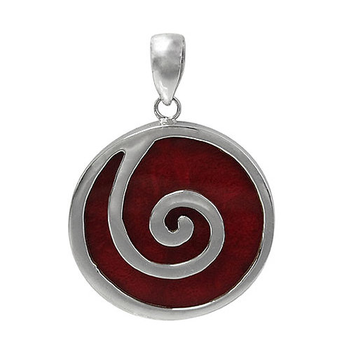 Sterling Silver Spiral design with Sponge Coral Round Pendant