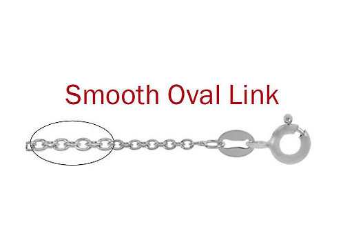 """Sterling Silver 16"""" smooth oval link chain with spring clasp CH168SS16"""