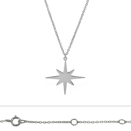 Rhodium Plated Sterling Silver Star Pendant Necklace
