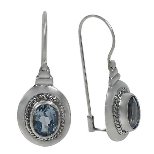 Sterling Silver with Blue Topaz Earrings