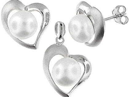 Rhodium Plated Sterling Silver Fresh Water Pearl with Heart Pendant & Earring Se