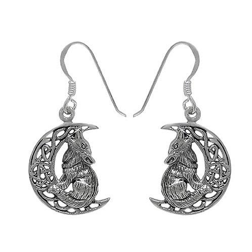 Sterling Silver Celtic Wolf & Moon Earrings