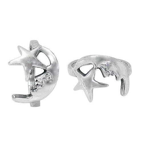 Stering Silver Crescent Moon & Star Ring (Size 6.5)