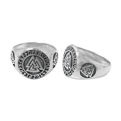 Sterling Silver Valknut Knot (Norse) Men's Ring (Size 10.75)