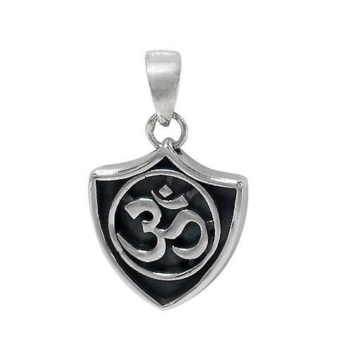 Sterling Silver OM Shield Pendant