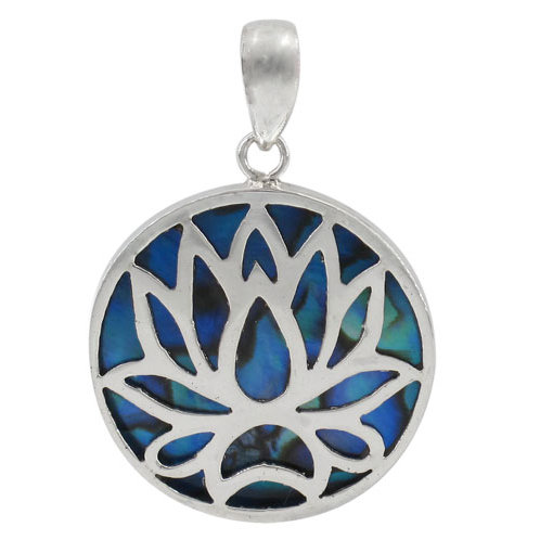 Sterling Silver Lotus Flower with Abalone Round Pendant