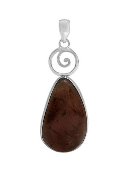 Sterling Silver Spiral Pendant with Amber