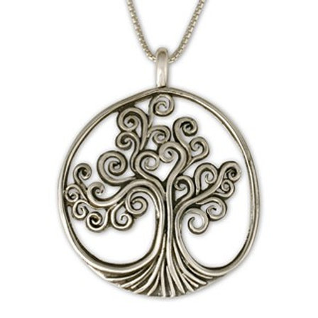 Sterling Silver Large Tree of Life Pendant Necklace