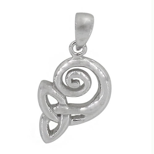 Rhodium Plated Sterling Silver Spiral with Triquetra Pendant