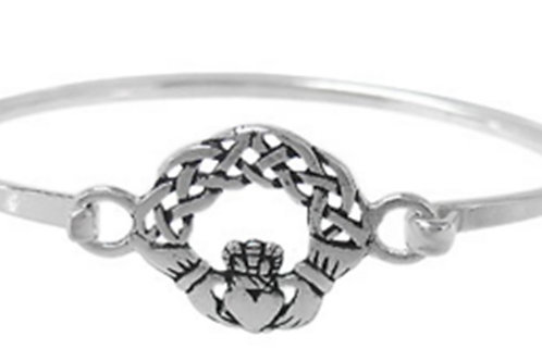 Sterling Silver Claddagh Bangle with hook closure