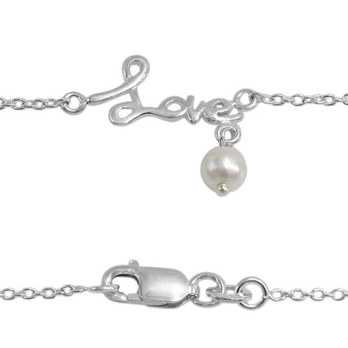"""Sterling Silver """"Love"""" with Fresh Water Pearl Dangle Anklet"""