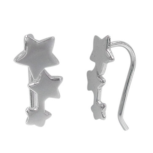 Rhodium Plated Sterling Silver Star Crawler Earrings