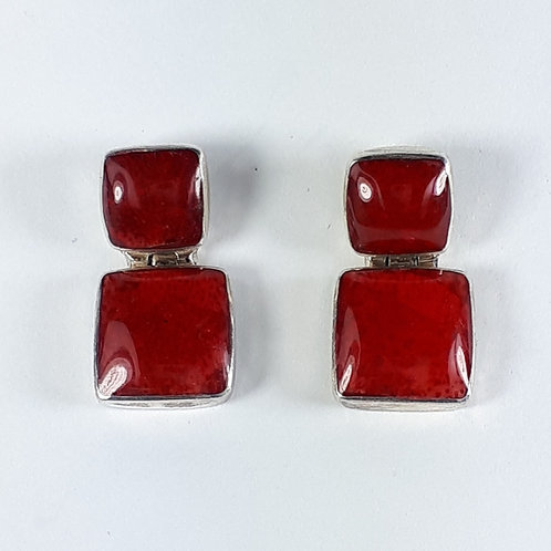 Sterling Silver with Sponge Coral Square Hinged Earrings