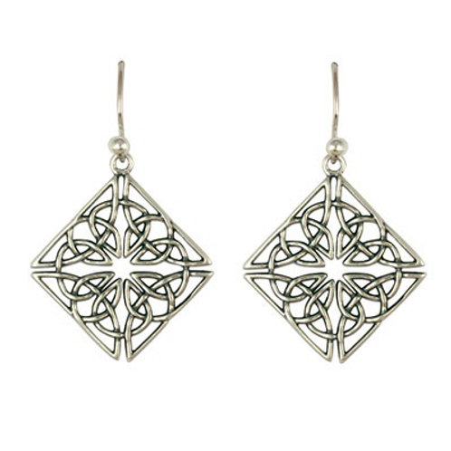 Sterling Silver Celtic Mystic's Knot Diamond Earrings