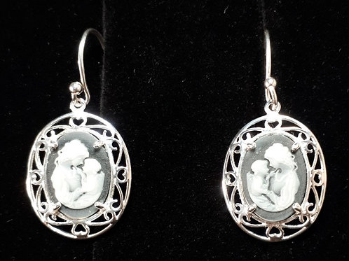 Sterling Silver Mother & Child Cameo Style Earrings