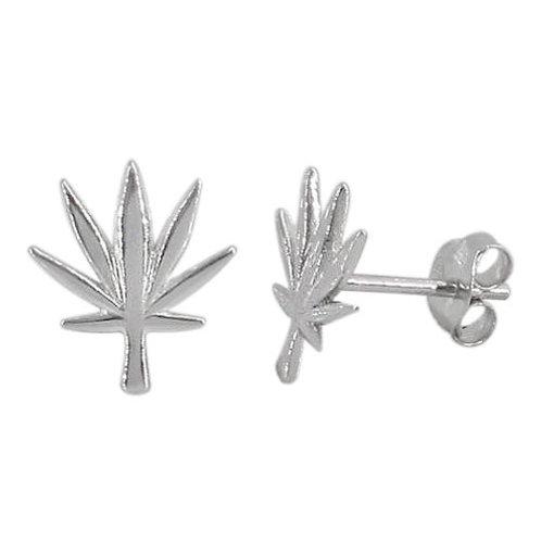 Sterling Silver Marijuana Leaf Earrings